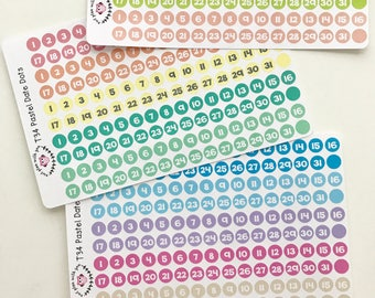 T34 || Pastel Date Dot Stickers
