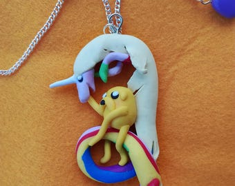 Jake & Lady Brite (necklace with Fimo pendant) Adventure Time with Finn and Jake