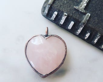 Small Rose Quartz Heart Necklace