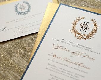 Monogram Wreath Wedding Invitation, Gold Wedding, Monogram Wedding Invites, Gold Wreath Invitation, Wedding Invite, Gold Wreath