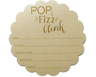 Pop, Fizz Clink Scalloped Fill-in Invitations 10 pack