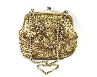 Vintage Gold Beaded Hand bag La Regale Gold Frame 20s Great Gatsby Flapper Art Deco Wedding Purse