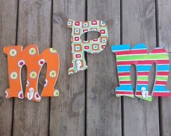 Hand Painted Letters -  Bathroom Towel Hooks  - Letter Hooks - Wall Hooks - Towel Hooks - Kids Hooks - Christmas Gift - Gift For Kids