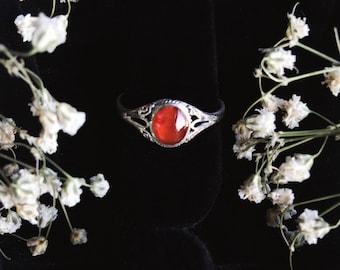 Carnelian Sterling Silver Ring Size 5-7