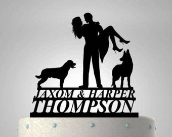 Bride and Groom with Two Pet Dogs Acrylic Cake Topper With First and Last Names #51 CT-14