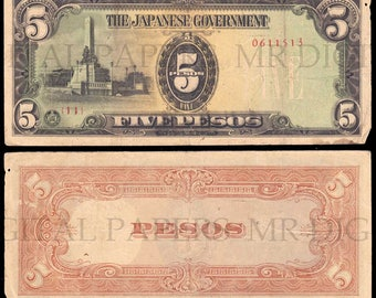 Japanese Peso Note / Japan Money / Digital Paper / Japanese Currency / Antique Money / Antique Ephemera / Digital Download / Paper Ephemera