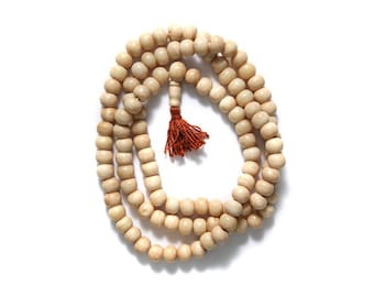 108 Bone Mala Necklace Tan Round Beads, 108 Bone Mala prayer beads.