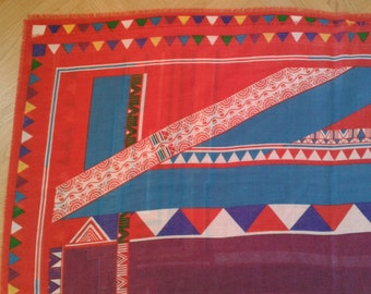 Shawl 1980s, VINTAGE PLAYFUL colors shawl, post modern, tribal, geometric, pop,all in one, pattern design, vintage 80s