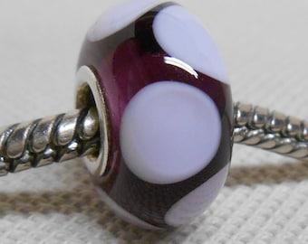Handmade Lampwork Bead Silver Cored Glass Charm Bead Transparent Purple