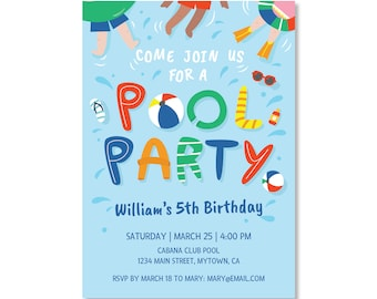 Printed Invitations - Pool Party