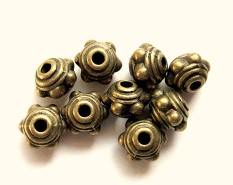 30 Metal beads antique bronze spacer focal jewelry making supplies 7mm x 5mm MLF101-Z3