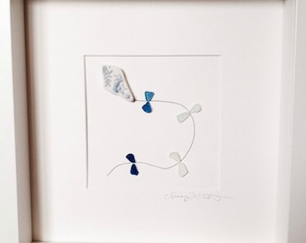 Irish Sea Glass Wall Art - Kite, Bird Family of 4, Jellyfish