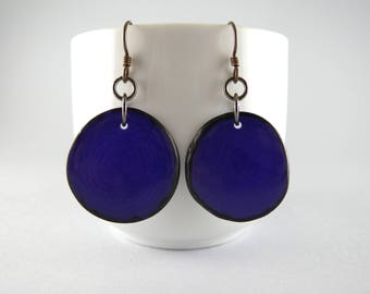 Violet Tagua Nut Eco Friendly Yoga Accessories Earrings with Free USA Shipping #taguanut #ecofriendlyjewelry
