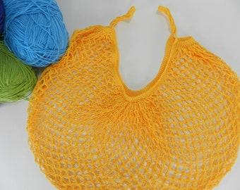 Farmer's Market, Beach or Book Bag, Reusable Shopping Bag, Cotton String Tote