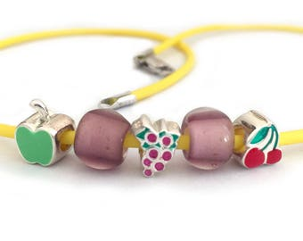 Fruit Necklace for Girls Yellow Rubber