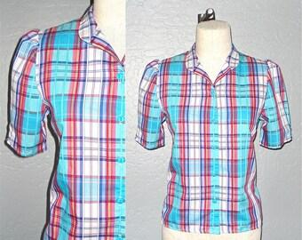 Vintage 80s blouse PREPPY PLAID hipster short sleeve - S/M