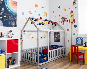 Toddler bed Twin size Baby bed Children bed Montessori toy wooden house Nursery interior crib Toddler bedroom design Girl room Boy room