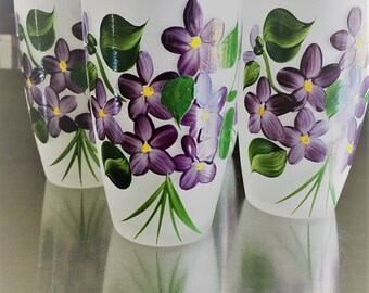 Set of 4 Vintage White Frosted Glasses With Violet Bouquet – Vintage 1950 – Hand Painted - Gay Fad Fired