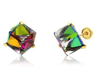 Women Girl 14K Yellow Gold Multi Color Crystal Cube Stud Earrings Screwback(DVCUBE-MW)