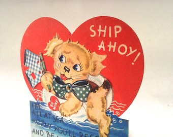 vintage sailor dog Valentine card; swinging flag and wagging puppy tail; old fashioned card yesteryears Carrington paper ephemera