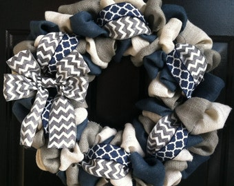 Everyday Wreath, Burlap Wreath, Front Door Wreath, Navy, White, & Gray Burlap Wreath with Navy Quatrefoil and Gray and White Chevron Ribbon