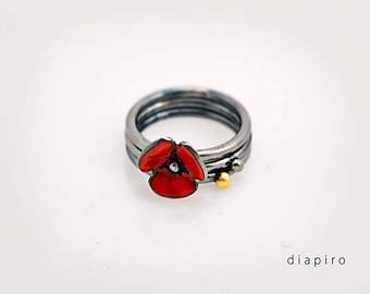 Silver Enamel, Stacking Ring, Red Enamel, Handmade, Jewelry, Oxidized, Silver Bands