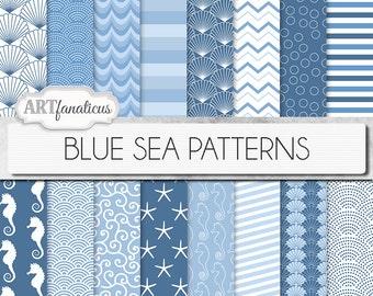 "Beach digital papers ""BLUE SEA PATTERNS"" shells, seahorse, waves, seashell, ocean, starfish, chevron, sea, beach, nautical, seashore"