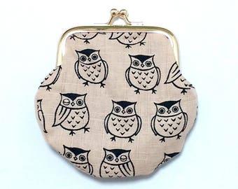 Owl Coin Purse / accessory pouch /  beige & Brown