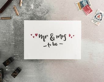 Mr And Mrs To Be Letterpress Engagement Card