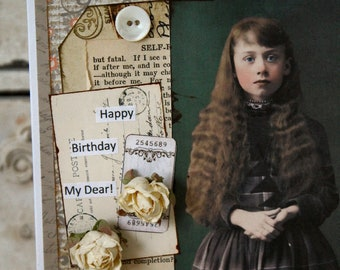 Happy Birthday My Dear!,handmade card,collage card,birthday card
