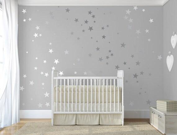 Silberne Wand silber konfetti sterne stick auf wand kunst silber vinyl wand