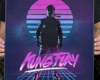 Kung Fury 16x20 Canvas, Spray Paint Art