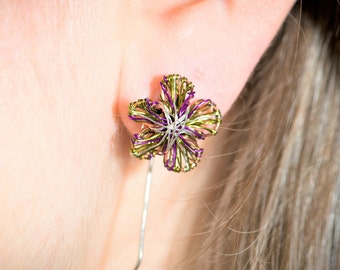 Flower earring, long post, cute, threader, blossom, purple, wire flower art earring, boho jewelry, Summer, bridesmaid, birthday gift for her