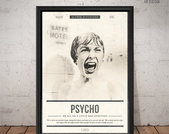 PSYCHO Poster - Unique Retro Movie Poster - Movie Print, Film Poster, Wall Art, Psycho Print, Hitchcock Poster