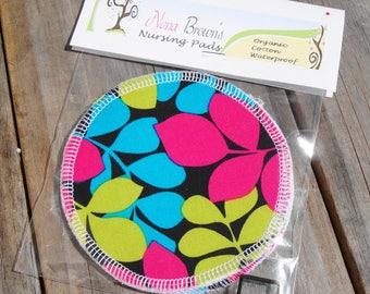 Reusable Nursing Pads, Waterproof Organic Cotton Flannel - Green & Pink Leaf Print