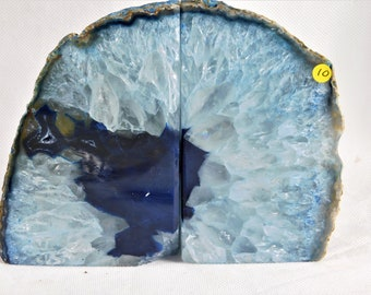 AB10) Large Blue Agate Quartz Crystal Bookends House Office Gift