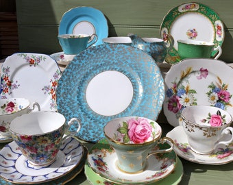 Vintage China Mis matched Tea set - 6 trios, cake plate m+s