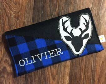 Protects health record deer blue Plaid personalized with name