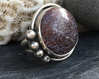 Dino Bone Ring, Dinosaur Bone Ring, Sterling Silver Ring, Size 7 Ring