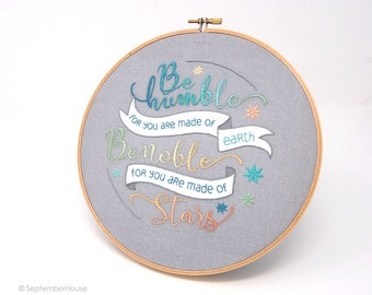 Modern Embroidery Kit, Made of Stars Quotation hand embroidery panel pre-printed fabric for hand embroidery Space embroidery pattern