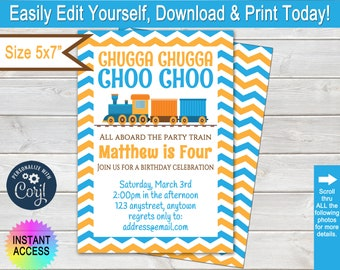Train Invitation, Chugga Chugga Choo Choo Train Birthday Invitation, Boy Birthday Party Invite, 4th Birthday Party, Editable, 5x7, Corjl