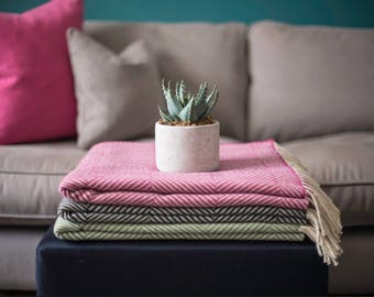 100% Wool throw/blanket, beautiful accent piece, updates any room and makes the perfect gift