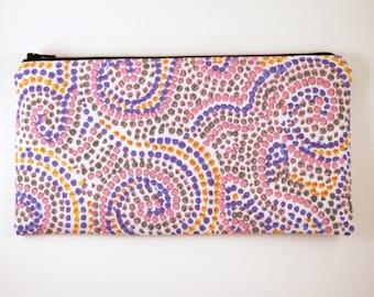 Colorful Pencil Case, Swirly Dot Zipper Pouch, Make Up Bag, Gadget Bag, Pencil Pouch
