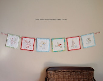 Festive Bunting modern hand embroidery pattern - modern embroidery PDF pattern, digital download