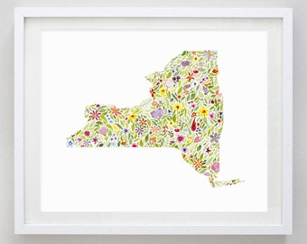 New York State Floral Watercolor Print - Any State Available