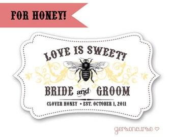 Personalized Honey Labels - Love is Sweet - Curvy Shape / DIGITAL FILE