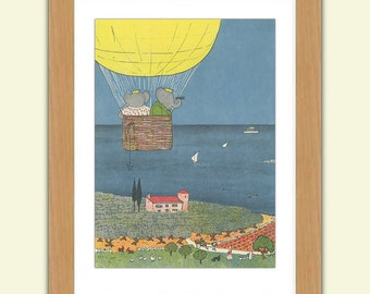 Babar A3 Satin Luxury Print reproduction Illustration - Jean de Brunhoff No.2