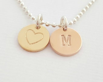 Personalised Necklace Initial Necklace rose gold disc gold necklace custom stamped necklace sterling silver gift for women mum best friend