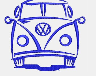VW Volkswagen Bus Van Embroidery Design - Instant Download Filled Stitches Embroidery Design 882