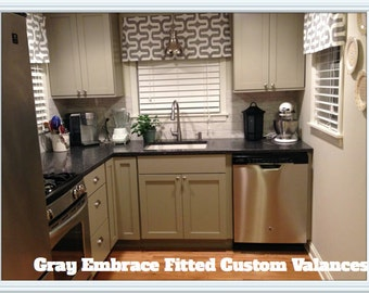 Gray Curtain Valance, kitchen curtain, bathroom decor, great for Bedrooms, Kitchens, Living rooms, Kids, Nursery Decor